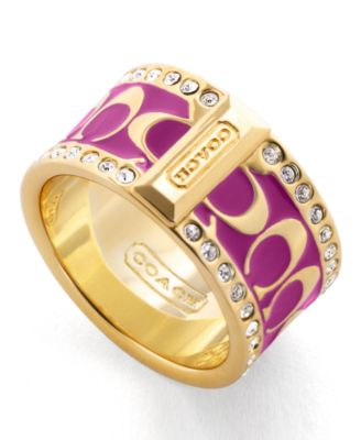 COACH HOLIDAY COACH PAVE SIGNATURE ENAMEL RING
