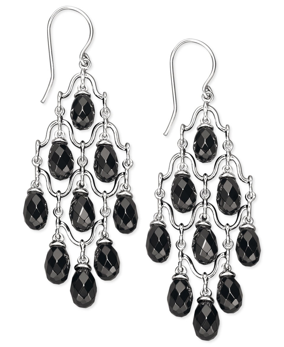 Sterling Silver Earrings, Onyx Chandelier Earrings (5 8mm)   Earrings   Jewelry & Watches