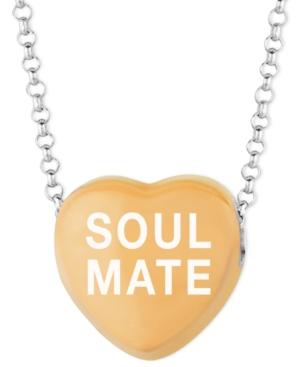 Sweethearts Sterling Silver Necklace, Orange Soul Mate Heart Pendant