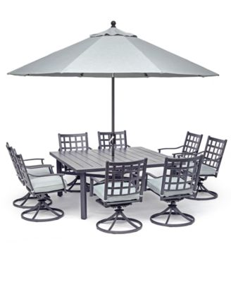 "Highland Aluminum Outdoor 9-Pc. Dining Set (64"" Square Dining Table and 8 Swivel Rockers) with Sunbrella® Cushions, Created for Macy's"