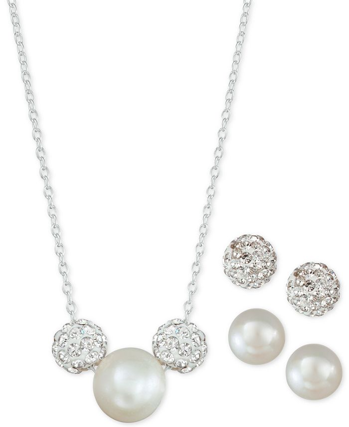 Macy's - 3-Pc. Set Cultured Freshwater Pearl & Crystal Fireballs Pendant Necklace & 2-Pr. Matching Stud Earrings
