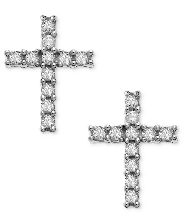 Macy's - 14k White Gold Earrings, Diamond Accent Cross Stud Earrings