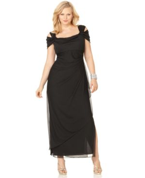 Alex Evenings Plus Size Cold-Shoulder Empire-Waist Gown