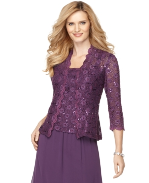 Alex Evenings Jacket & Cami, Three Quarter Sleeve Sequin Lace