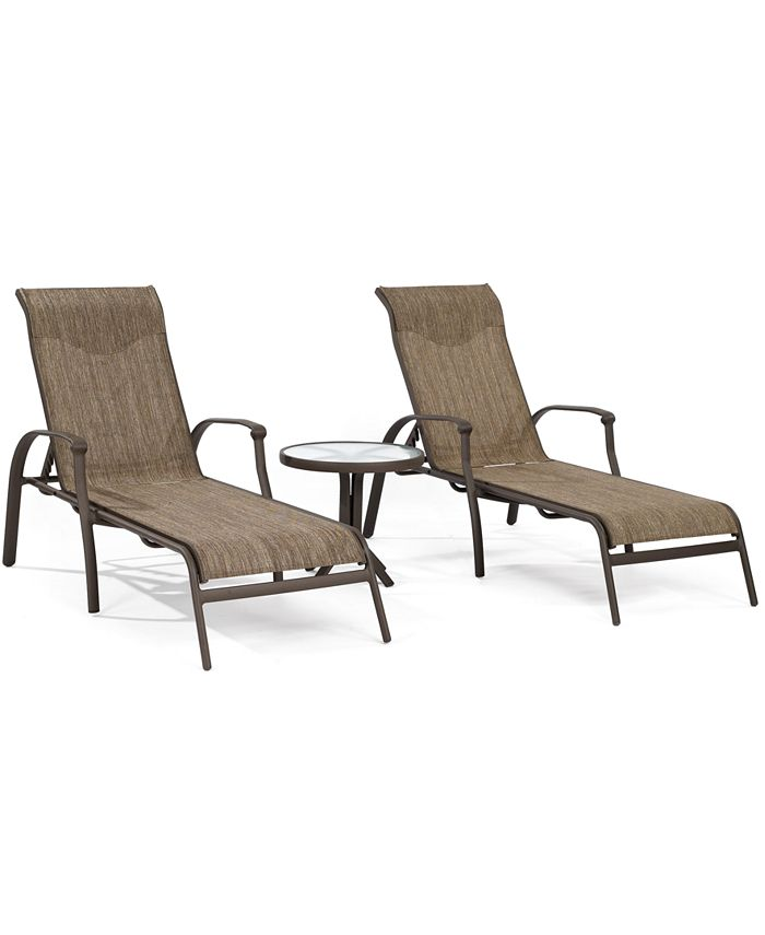 Furniture - Oasis Outdoor 3 Piece Chaise Set: 2 Chaise Lounges and 1 End Table