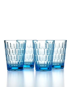 The Cellar Drinkware, Set of 4 Honeycomb Blue Double Old Fashioned Glasses
