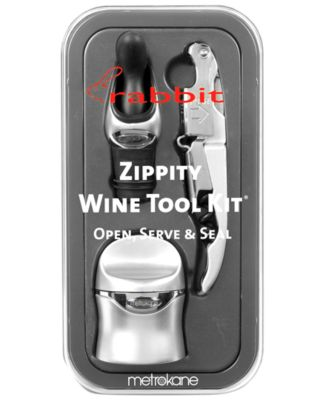 Metrokane Barware, Silver Rabbit 3 Piece Zippity Wine Tool Kit