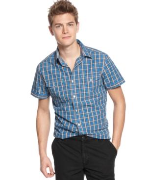 Kenneth Cole Reaction Shirt, Short Sleeve Two Pocket Plaid Shirt