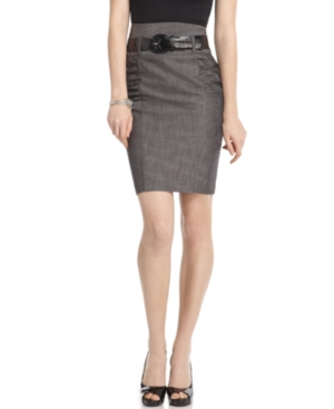BCX Skirt, Chambray High Waist Ruched Belted Pencil