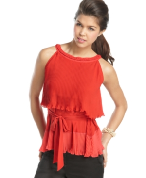 XOXO Top, Sleeveless Pleated Belted Tiered Colorblock