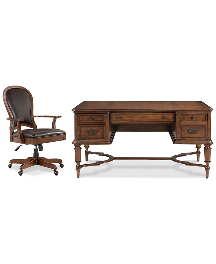 Furniture - Clinton Hill Cherry Home Office, 2-Pc. Set (Writing Desk & Leather Desk Chair)