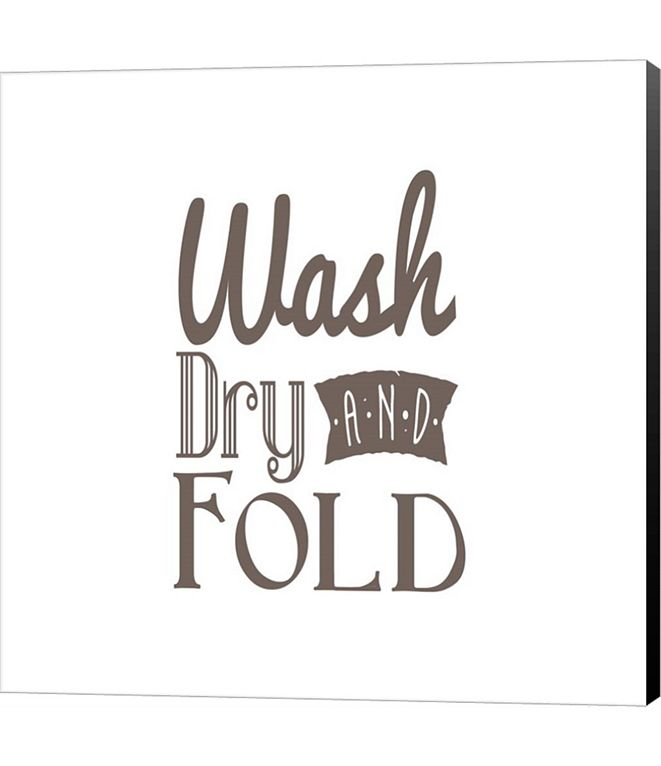 Metaverse Wash Dry And Fold Brown Text by Color Me Happy Canvas Art