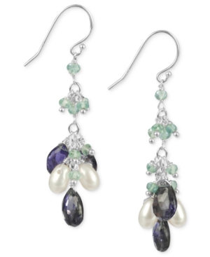 Sterling Silver Earrings, Apatite, Lolite and Cultured Freshwater Pearl Cluster Drop Earrings