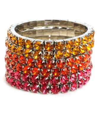 Haskell Bracelets Set, Pink and Orange Rhinestone Stretch Bracelets Set