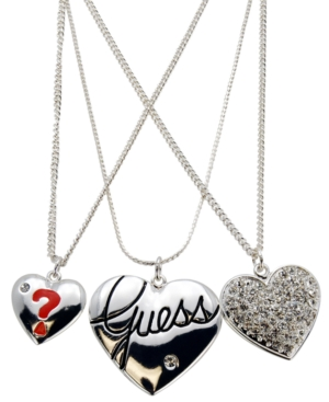 GUESS Necklace, Silver Tone 3 Row Heart Necklace