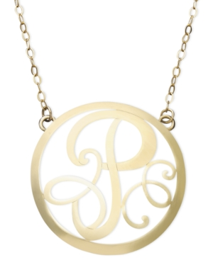 14k Gold Necklace, P Initial Scroll Circle Pendant
