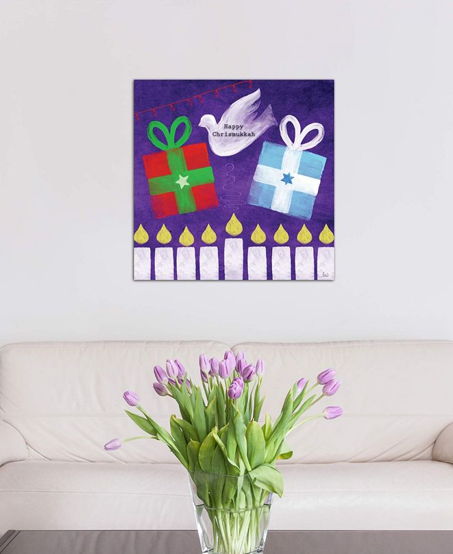 """iCanvas """"Happy Chrismukkah"""" by Linda Woods Gallery-Wrapped Canvas Print"""