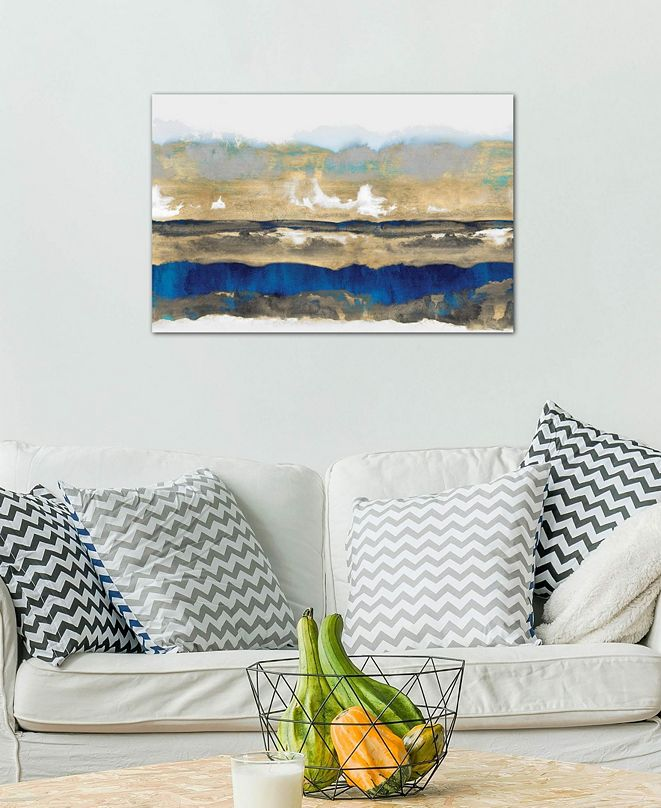 """iCanvas """"Strata In Blue & Gold"""" by Rachel Springer Gallery-Wrapped Canvas Print (18 x 26 x 0.75)"""