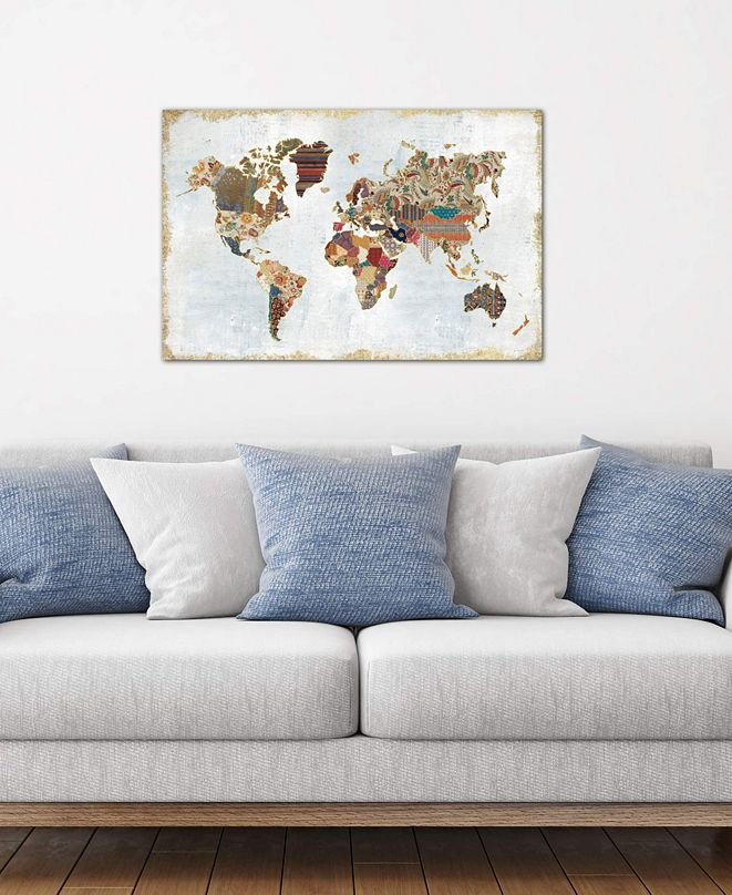 """iCanvas """"Pattern World Map"""" by Laura Marshall Gallery-Wrapped Canvas Print (18 x 26 x 0.75)"""