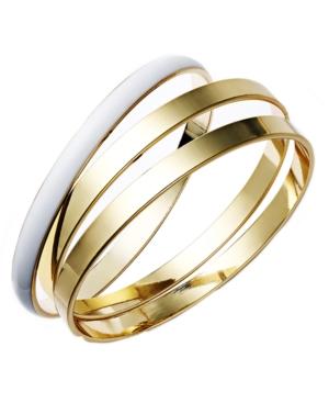 Charter Club Bracelet Set, Gold Tone and White Resin Bangles