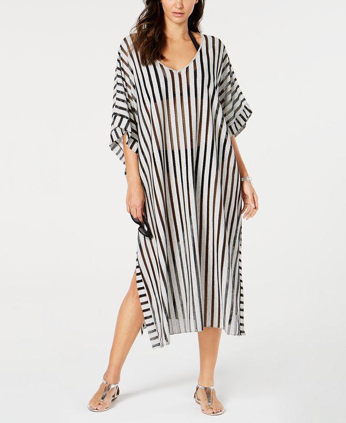 Calvin Klein - Striped Maxi Caftan Cover-Up