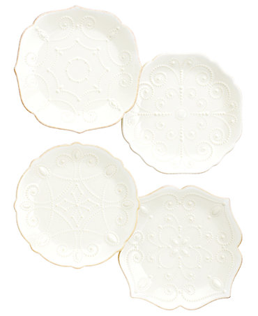 Lenox Dinnerware, Set of 4 French Perle White Assorted Plates