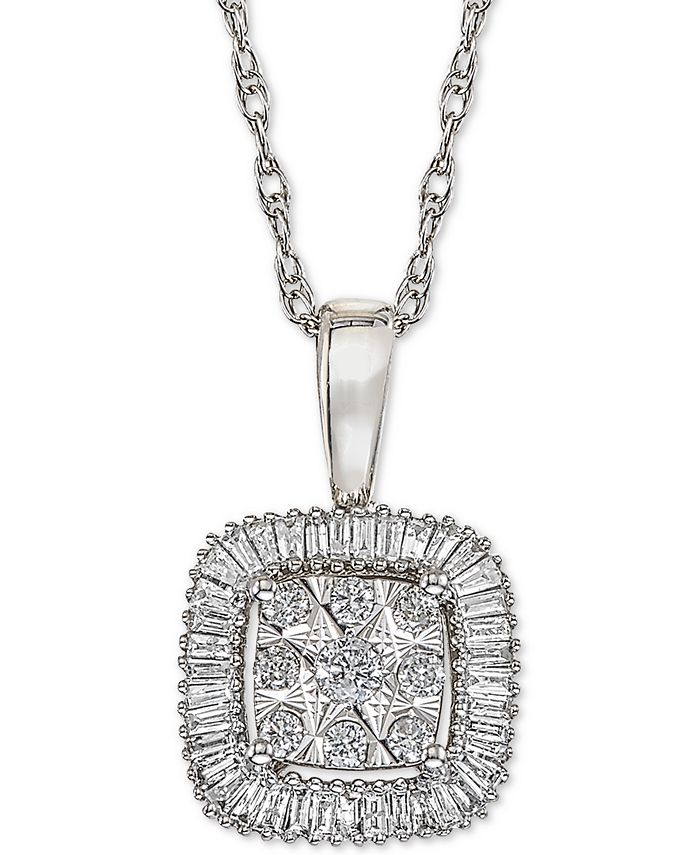 Macy's - Diamond Framed Cluster Adjustable Pendant Necklace (1/3 ct. t.w.) in 14k White Gold