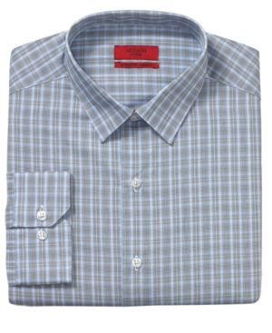 Alfani Dress Shirt, Fitted Blue Shady Check Long Sleeve Shirt