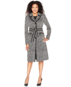 Kasper Suit, Polka Dot Printed Trench Coat & Sleeveless Sheath