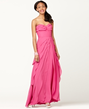 Adrianna Papell Dress, Strapless Pleated Tiered Evening Gown