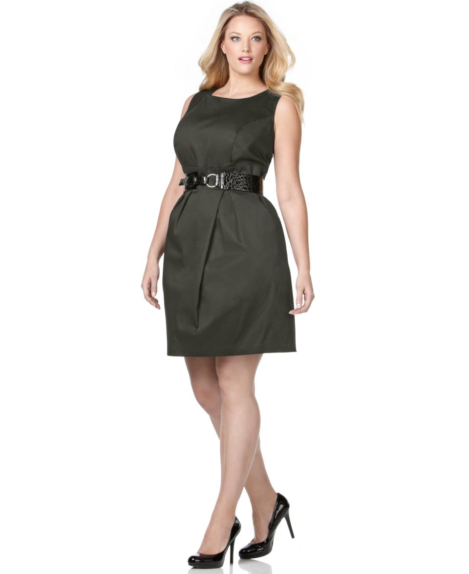 AGB Plus Size Dress, Sleeveless Belted Sheath