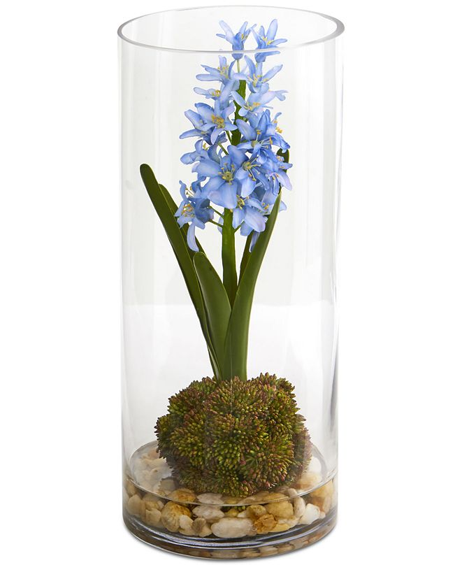 Nearly Natural Hyacinth & Sedum Artificial Arrangement in Cylinder Vase