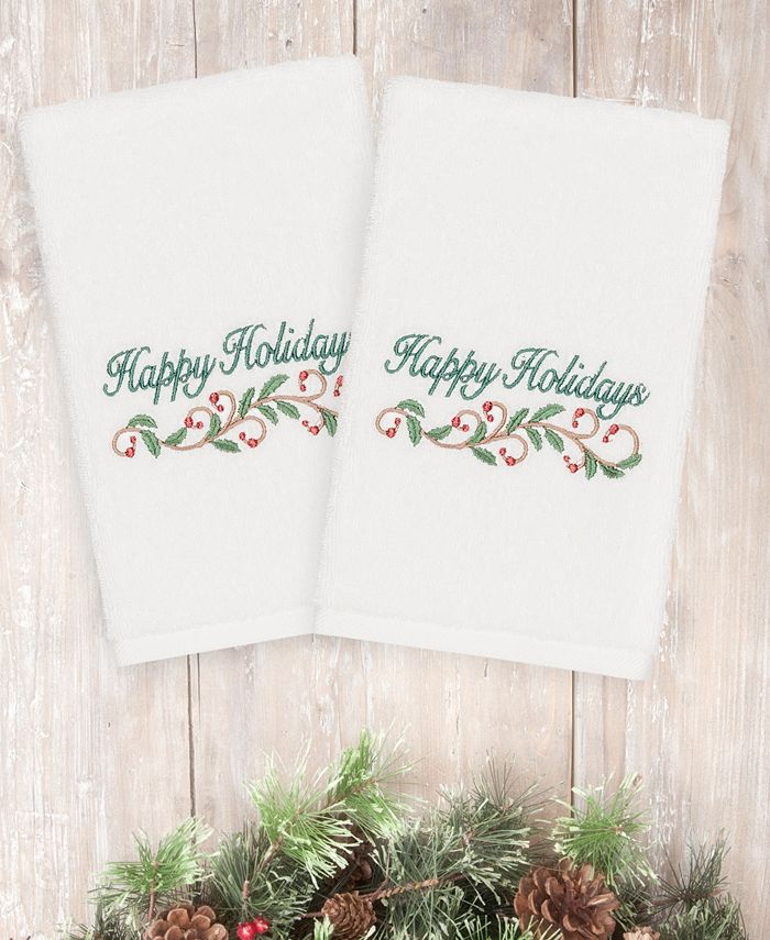 Linum Home - Christmas Happy Holidays 100% Turkish Cotton 2-Pc. Hand Towel Set