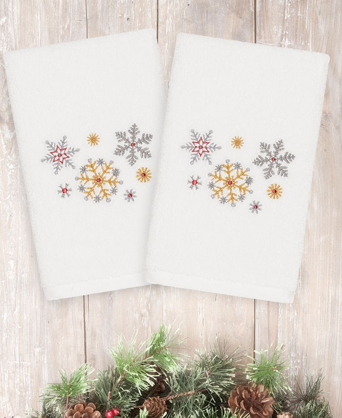 Linum Home - Christmas Snowfall 100% Turkish Cotton 2-Pc. Hand Towel Set