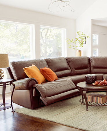 Duncan Leather Sectional Seating With Vinyl Sides Back Living Room Furn