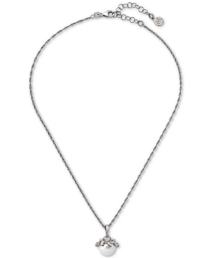 "Majorica - Sterling Silver Cubic Zirconia & Imitation Pearl Pendant Necklace, 14-1/2"" + 2"" extender"
