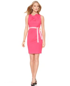 T Tahari Dress, Sloane Boatneck Sleeveless Pleated Ribbon Belted Sheath