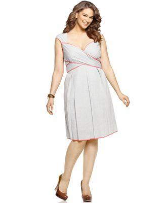 Womens Plus Size Seersucker Dress Prom Dresses 2018