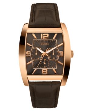 GUESS Watch, Men's Brown Crocograin Leather Strap 50x40mm U11675G1
