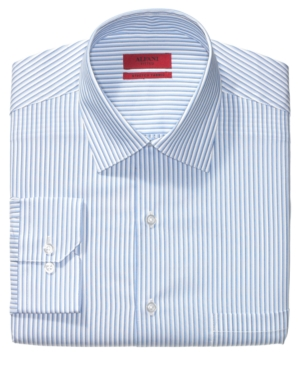 Alfani Dress Shirt, Fitted Double Striped Long Sleeve Shirt