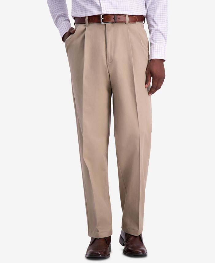 Haggar - Men's W2W PRO Relaxed-Fit Performance Stretch Non-Iron Pleated Casual Pants