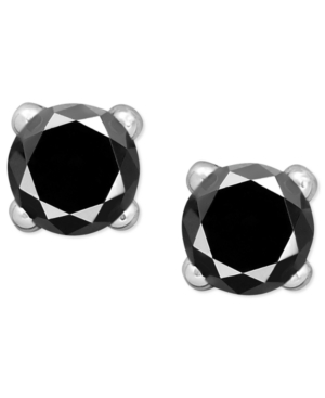 Victoria Townsend Sterling Silver Earrings, Black Diamond Stud Earrings (1/2 ct. t.w.)