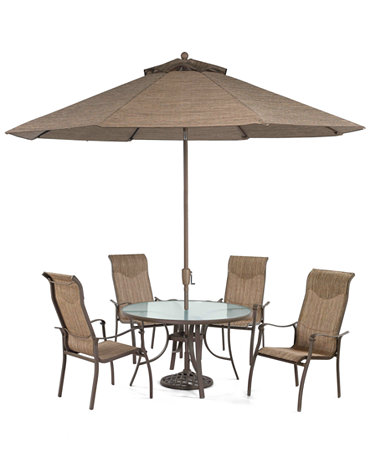 Oasis Outdoor Patio Furniture 5 Piece Set 48 Round Dining Table 4 Di