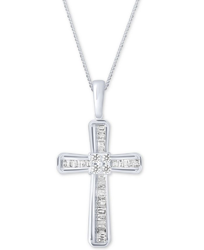 Macy's - Diamond Baguette Cross Adjustable Pendant Necklace (1/5 ct. t.w) in 10k White Gold