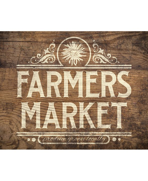 "Creative Gallery Vintage Farmer'S Market Sign On Wood Pattern 24"" X 36"" Canvas Wall Art Print"