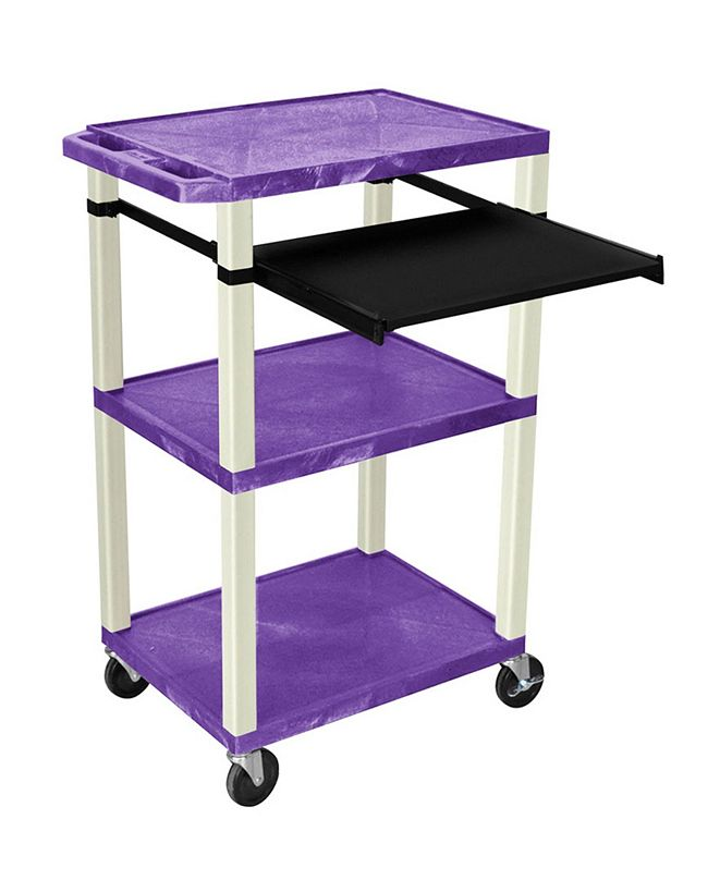 "Clickhere2shop 42""H Tuffy AV Cart with 3 Shelves, Front Pullout Shelf - Purple Shelves/Putty Legs"