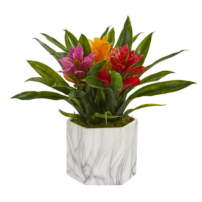 Nearly Natural Bromeliad Artificial Plant in Marble Finished Vase