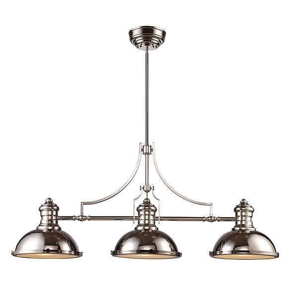 ELK Lighting Chadwick 3-Light Billiard in Polished Nickel with Matching Shades