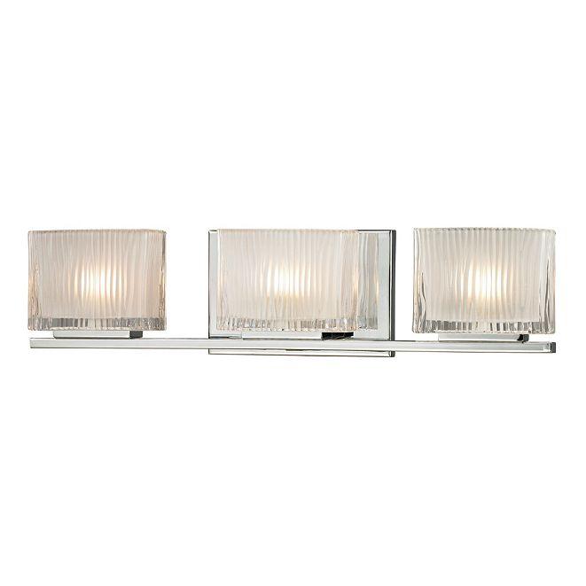 ELK Lighting Chiseled Glass Collection 3 light bath in Polished Chrome