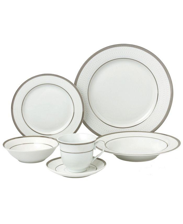 Lorren Home Trends - 24 Piece Silver Porcelain Dinnerware Service for 4-Ashley